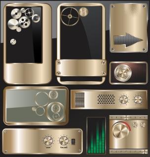 メタリックな部品のデザイン Exquisite metal gear grid drawing buttons material イラスト素材