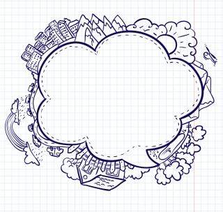 手書きの風景で囲んだ吹き出し Hand-painted cartoon dialog boxes イラスト素材