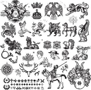 ヨーロッパの古典的なラインアート素材 European classical line art material イラスト素材