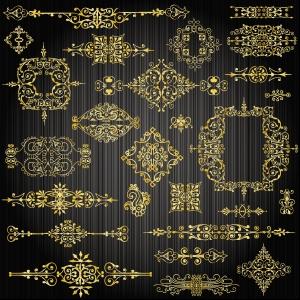 金色の飾り罫 gold lace pattern vector イラスト素材