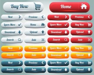 お洒落なウェブ ボタン delicate web buttons material イラスト素材