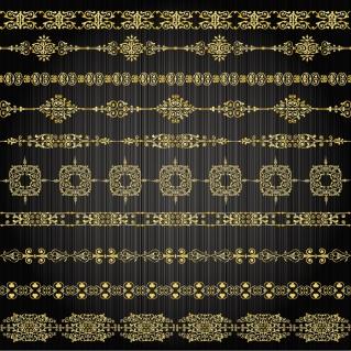 金色のボーダー Gold lace borders イラスト素材