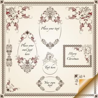 クラシックな飾り罫 classic pattern lace border イラスト素材