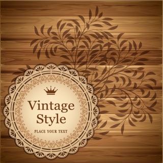 王冠のステッカーと木目の背景 wood grain texture crown stickers イラスト素材