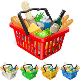 食料品と買い物カゴ fruits and vegetables and shopping basket イラスト素材