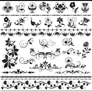 美しい花の飾り罫 Beautiful lace pattern square material イラスト素材
