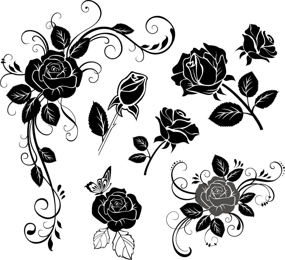 手描き風薔薇のシルエット Handpainted Roses Flowers Vector イラスト