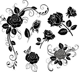 手描き風薔薇のシルエット handpainted roses flowers vector イラスト素材