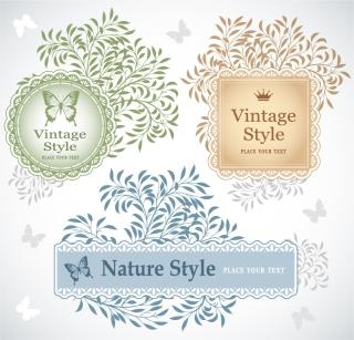 蝶と葉のクラシックなラベル Classic pattern butterfly leaves stickers labels イラスト素材