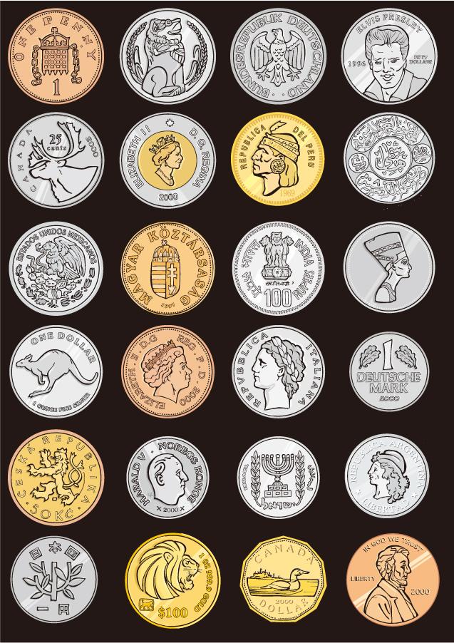 世界中の記念硬貨 commemorative coins around the world イラスト素材
