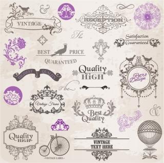 古典的な飾り素材 Classic lace pattern material イラスト素材