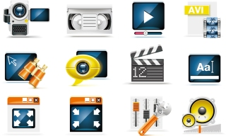 動画関連のアイコン video camera technology icon material イラスト素材