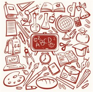 勉強道具の線画 cartoon learning items イラスト素材