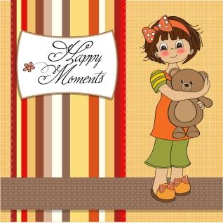 クマの縫いぐるみを抱いた少女のカード Cartoon cute girl bear toy cards イラスト素材