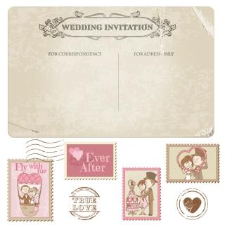 レトロな結婚式招待状 cartoon wedding card イラスト素材