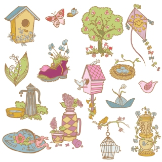 自然を楽しむ素材 bird's nest enjoy nature material イラスト素材