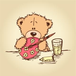 イースターエッグを描くクマ cartoon bear painting easter egg イラスト素材