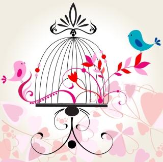 手書きの籠の鳥 line art bird love pattern イラスト素材
