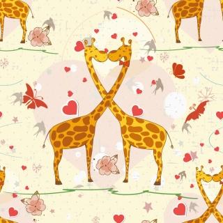 キリンとハート型の背景 Cartoon cute animals giraffes hearts background イラスト素材
