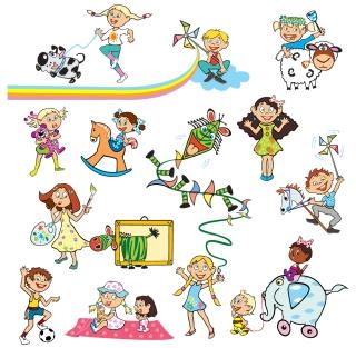 元気よく遊ぶ子供達 Cartoons fun cheerful children イラスト素材