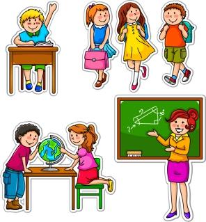 勉強する生徒達の切り抜き Cartoon students children illustration イラスト素材