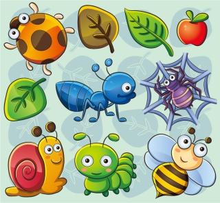 可愛い昆虫アイコン Cartoon lovely insect plant vector イラスト素材