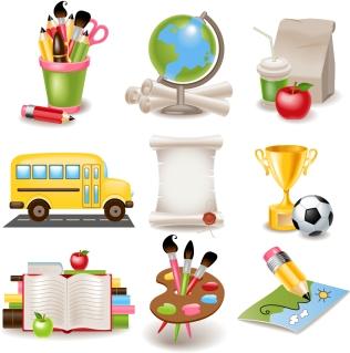 学校関連の素材 cartoon school supplies イラスト素材