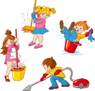 掃除する子供 Cartoon labor cleaning kids イラスト素材
