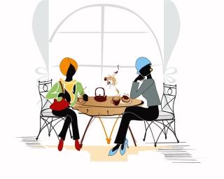 カフェで寛ぐ美女のシルエット roadside cafes beauty silhouettes イラスト素材