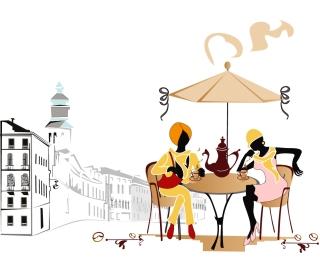 オープンカフェで楽しむ風景 landscape street cafes seating chairs イラスト素材