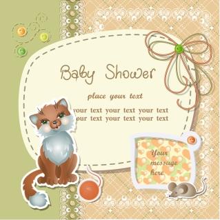 仔猫とネズミの表紙見本 Cartoons kitten mouse card イラスト素材