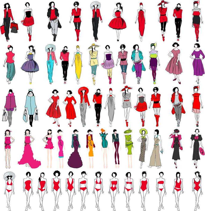 流行のファッション デザイン trend fashion beauty clothing modeling design イラスト素材