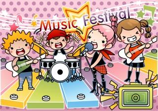 音楽を演奏する子供バンド Cartoons music performances bands posters イラスト素材