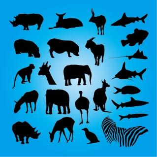 動物のシルエット animal silhouette イラスト素材
