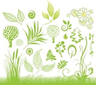 手書きの緑の植物 handpainted green plant イラスト素材