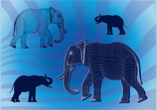 象のシルエット elephants silhouettes shading flow lines grids イラスト素材