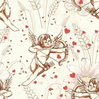 ハートに矢を射るキューピッド Cupid hearts line art イラスト素材