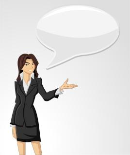 キャリアウーマンと吹き出し cartoon business picture background イラスト素材