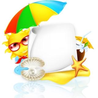 夏の太陽のテキストボード sun umbrellas summer text board イラスト素材
