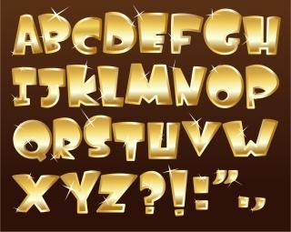 光沢ある金色のアルファベット フォント glossy metal texture font design イラスト素材