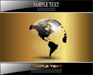 金色の背景に透明な地球儀 golden earth globe and black edges イラスト素材