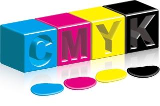 印刷インクの滴 CMYK color ink splashes vector イラスト素材