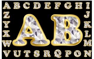 ダイヤモンド デザインのアルファベット Diamond letters of the alphabet イラスト素材