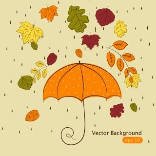 紅葉と傘の背景 handpainted maple leaf background イラスト素材