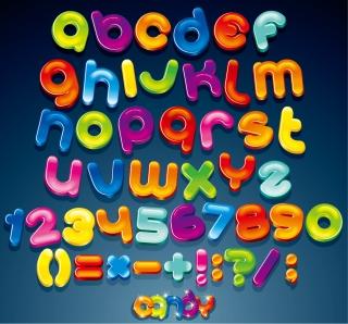 アルファベット記号の光沢あるデザイン Creative gloss english letters design イラスト素材