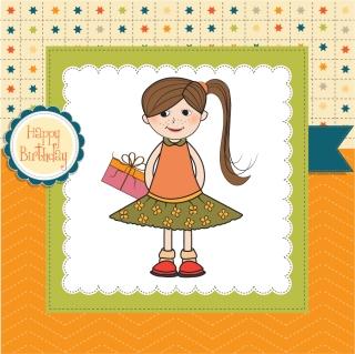少女の誕生日カード Little girl cartoon illustration background イラスト素材