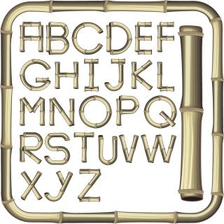 竹で型どったアルファベット bamboo creative letters イラスト素材