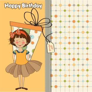 少女を描いたギフトカード cartoon girl gift card イラスト素材
