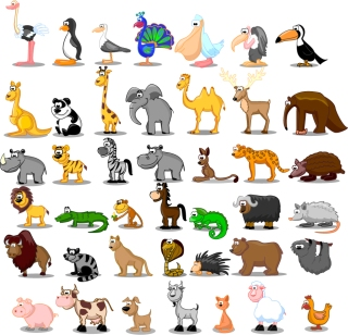 色々な動物の漫画 cute cartoon animals vector イラスト素材