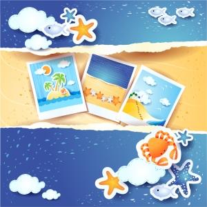 切り絵で描く夏の風景 summer beach background イラスト素材